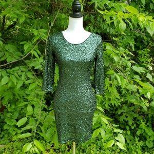 Sequin Green Dress Express Size 4.